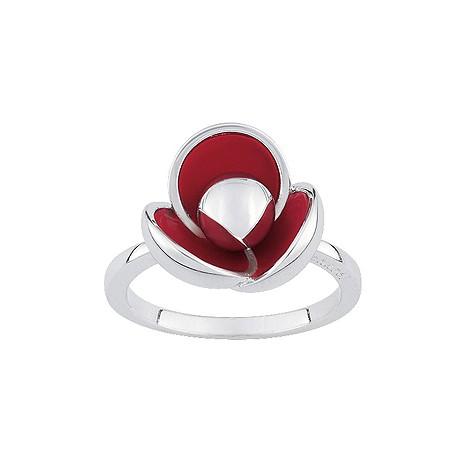 Cacharel sterling silver enamel poppy ring M