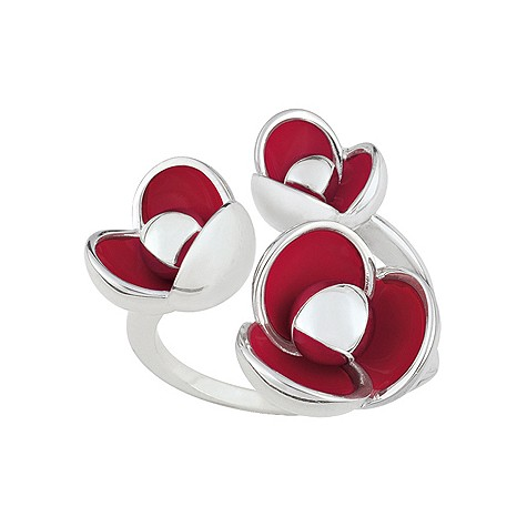 Cacharel sterling silver enamel poppy ring S