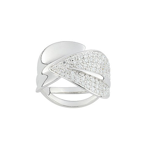 Cacharel sterling silver cubic zirconia leaf ring