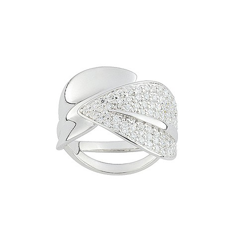 Cacharel sterling silver cubic zirconia leaf ring M