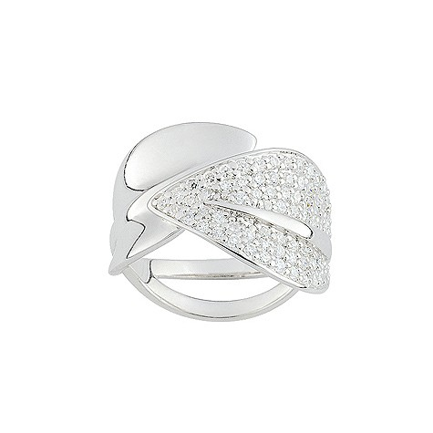 Cacharel sterling silver cubic zirconia leaf ring L