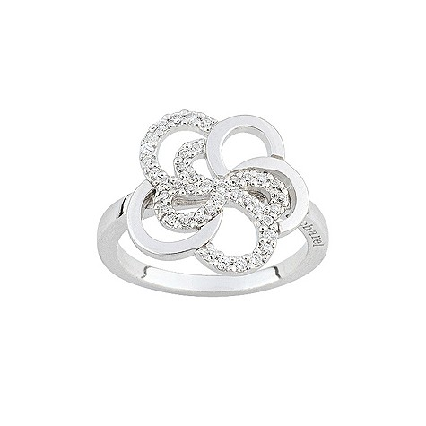 Cacharel sterling silver cubic zirconia flower ring S