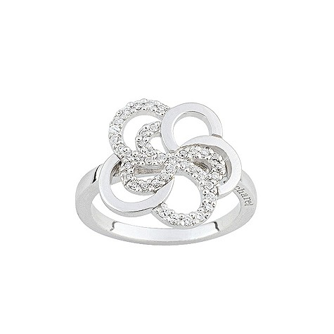 Cacharel sterling silver cubic zirconia flower ring L