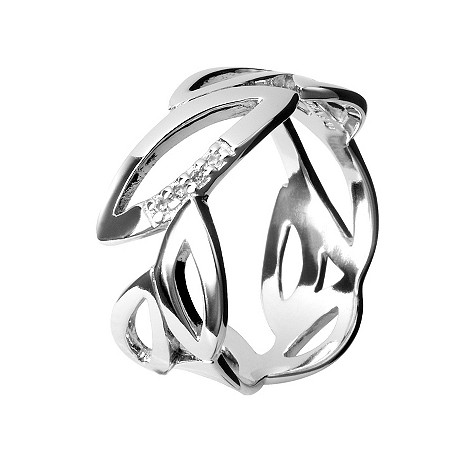 Hot Diamonds silver multi leaf ring Size M