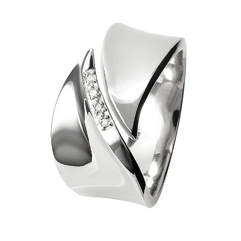 Hot Diamonds silver pave leaf ring Size N