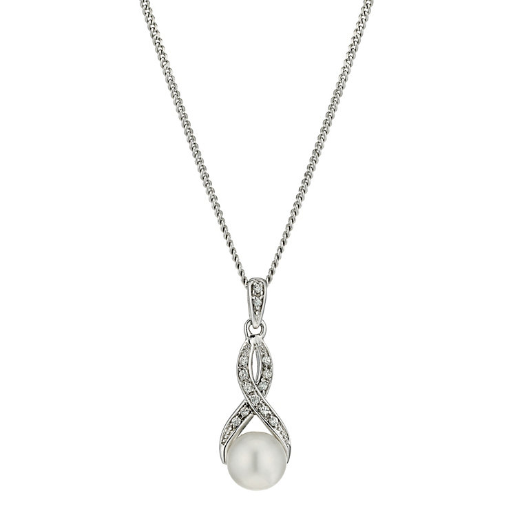 Silver Cubic Zirconia & Pearl Pendant - Product number 9183248