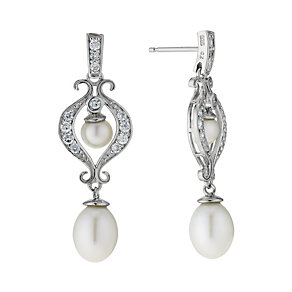 Silver Cultured Freshwater Pearl Cubic Zirconia Earrings - Product number 9183337