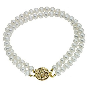 9ct Gold Diamond & Certified Freshwater Pearl Bracelet - Product number 9183469