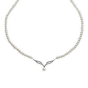 9ct White Gold Diamond & Cultured Freshwater Pearl Necklace - Product number 9183582