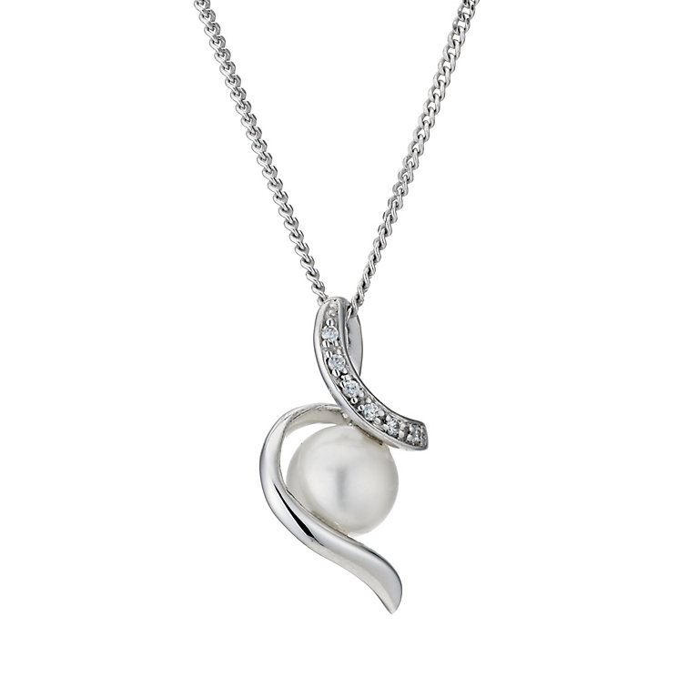 Silver Cultured Freshwater Pearl Cubic Zirconia Pendant - Product number 9183590