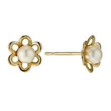 9ct Gold Cultured Freshwater Pearl Flower Stud Earrings - Product number 9184244