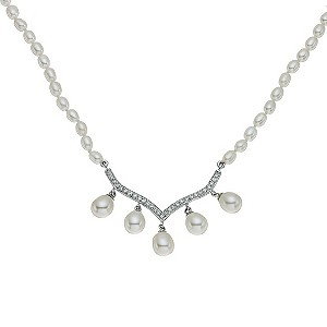 Silver Cultured Freshwater Pearl Drop Necklace - Product number 9184252