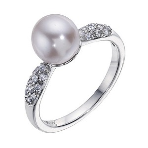 Silver Pink Cultured Freshwater Pearl Cubic Zirconia Ring - Product number 9184414