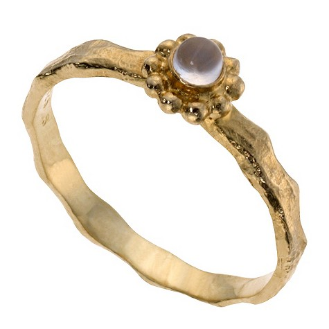 Gold plated silver moonstone ring