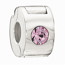 Chamilia - Silver Jewelled Lock Pink Crystal Bead - Product number 9187782