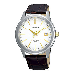 Pulsar Men's Titanium Brown  Strap Watch - Product number 9188592