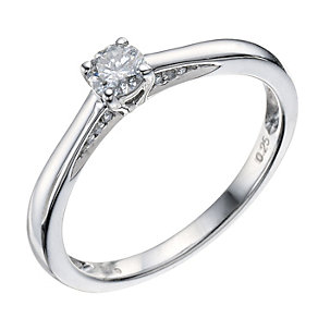 9ct White Gold 0.25 Carat Diamond Solitaire Ring - Product number 9190074