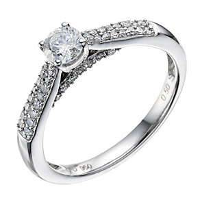 Palladium 0.50 Carat Diamond Solitaire Ring - Product number 9190201