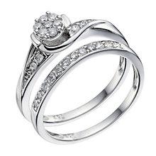 9ct White Gold 0.33 Carat Diamond Bridal Ring Set - Product number 9190333