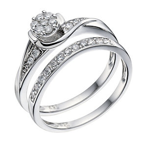 9ct White Gold 0.33 Carat Diamond Bridal Ring Set - Product number 9190333