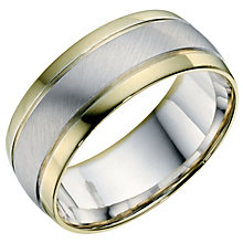 Men's Sterling Silver & 9ct Yellow Gold Matt 8mm Ring - Product number 9192999