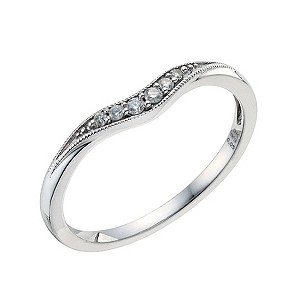 9ct White Gold Shaped Pave Set Diamond Wedding Band