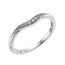 9ct White Gold Shaped Pave Set Diamond Wedding Band - Product number 9193499