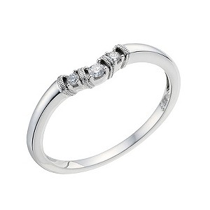 H Samuel 9ct White Gold Three Diamond Shaped Wedding Ring