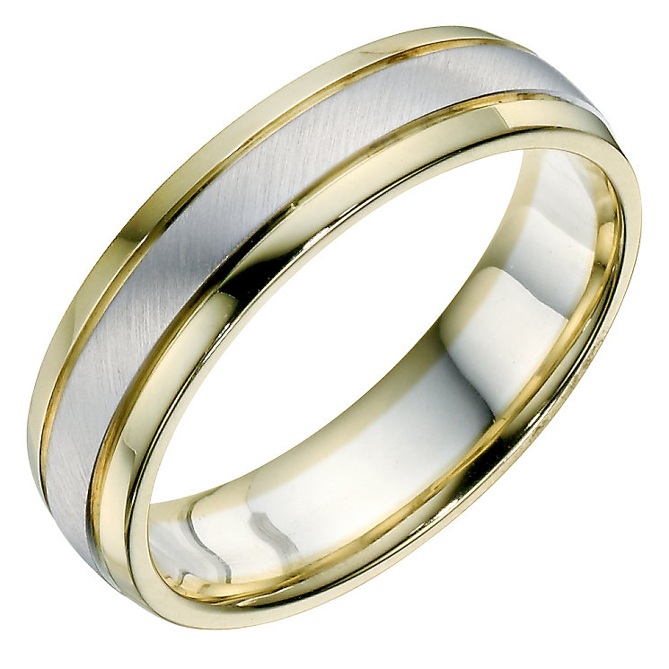 Men's 9ct Yellow & White Gold Matt & Polished Band - Product number 9194142