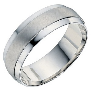 H Samuel Mens Sterling Silver 7mm Matt and Polished