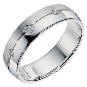 Sterling Silver Diamond Matt & Polished Band - Product number 9199624