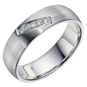 H Samuel Sterling Silver and Diamond Polished Band