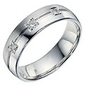 Sterling Silver Diamond Matt & Polished Band - Product number 9200088