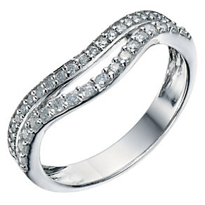 Silver & 0.33 Carat Diamond 2 Row Wedding Ring - Product number 9200258