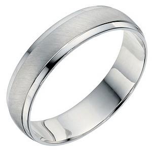 mens palladium 950 matt polished 5mm wedding band hsamuel - Palladium Wedding Rings