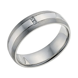 Palladium Men's Diamond Set Wedding Ring - Product number 9201181