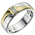 18ct Yellow Gold & Silver Diamond Men's Band - Product number 9201688