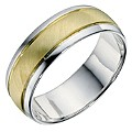 Silver & 9ct Yellow Gold Matt Wedding Band 7mm - Product number 9201858