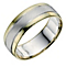 Men's Sterling Silver & 9ct Yellow Gold Matt 7mm Ring - Product number 9202099