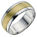 Men's Sterling Silver & 9ct Yellow Gold Matt Ring 8mm - Product number 9202331