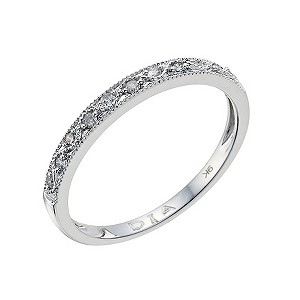 H Samuel 9ct white gold diamond set wedding ring