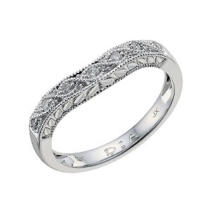 H Samuel 9ct white gold diamond set shaped wedding band
