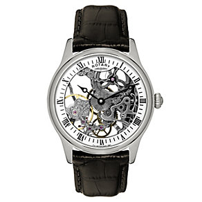 Rotary Men's Skeleton Dial Brown Leather Strap Watch - Product number 9205748