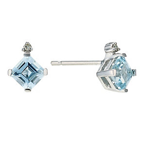 9ct White Gold Blue Topaz & Diamond Stud Earrings - Product number 9206981