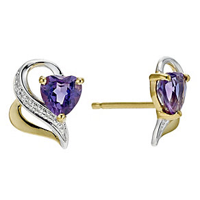 9ct Yellow Gold Diamond & Heart Amethyst Earrings - Product number 9207007