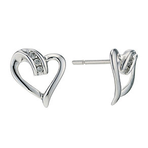9ct White Gold Diamond Heart Stud Earrings - Product number 9207082