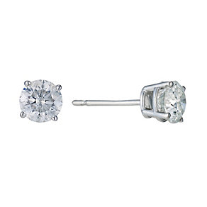 9ct White Gold 1 Carat Diamond Stud Earrings - Product number 9207139