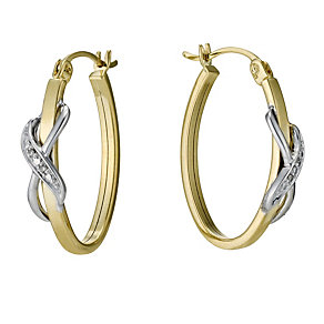 9ct Yellow & White Gold Diamond Kiss Hoop Earrings - Product number 9207155