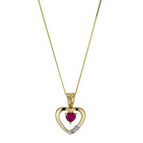 9ct Yellow Gold Ruby & Diamond Pendant - Product number 9207201