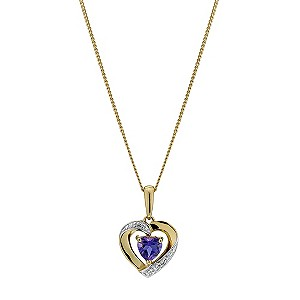 9ct Yellow Gold Diamond & Amethyst Heart Pendant - Product number 9207236